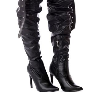 Faux Leather OTK Belt & Buckle Moto Thigh Boots